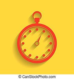 χρυσαφένιος , illustration., σήμα , φόντο. , vector., χρονόμετρο , σκιά , μαλακό , κόκκινο , εικόνα