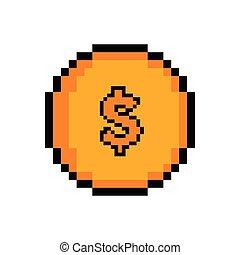 χρυσαφένιος , pixelated , επινοώ , απομονωμένος , εικόνα
