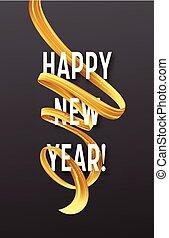 χρυσαφένιος , streamers., εικόνα , μικροβιοφορέας , έτος , καινούργιος , οφείτης , ευτυχισμένος