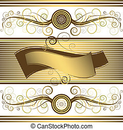 χρυσαφένιος , (vector), άνθινος , φόντο , κορνίζα
