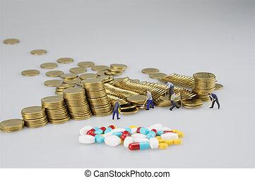 χρυσός , άνθρωποι , μινιατούρα , φάρμακο , επινοώ , θημωνιά