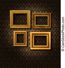 χρυσός , αποτελώ το πλαίσιο , δαμασκηνό ύφασμα , τοίχοs