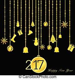 χρυσός , εικόνα , μαύρο , έτος , καινούργιος , 2017, ευτυχισμένος