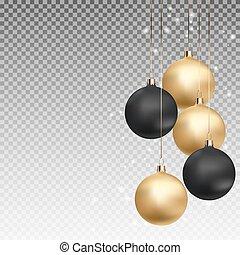 χρυσός , και , μαύρο , διακοπές χριστουγέννων μπάλα , με , μπάλα , επάνω , διαφανής , φόντο , μικροβιοφορέας , εικόνα