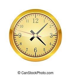 χρυσός , μικροβιοφορέας , λείος , clock., illustration.