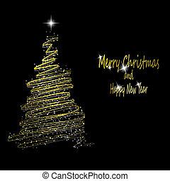 χρυσός , μικροβιοφορέας , χρυσαφένιος , μαύρο , αστέρας του κινηματογράφου , κορδέλα , γινώμενος , χριστουγεννιάτικο δέντρο , eps10, εικόνα , φόντο.
