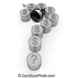 χρυσός , μορφή , δολάριο , κέρματα , ερωτηματικό , σήμα , bla