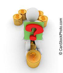 χρυσός , μορφή , ερώτηση , κέρματα , δολάριο , 3d , σημαδεύω , φόντο , άσπρο , σήμα , άντραs