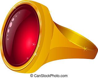 χρυσός , πετράδι , κόκκινο , δακτυλίδι