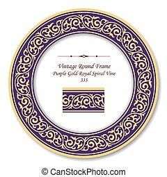 χρυσός , πορφυρό , κρασί , κορνίζα , βασιλικός , ελικοειδής , κλήμα , retro , στρογγυλός