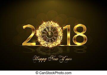 χρυσός , ρολόι , εικόνα , 2017., μικροβιοφορέας , έτος , καινούργιος , ευτυχισμένος