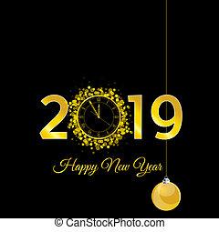 χρυσός , ρολόι , εικόνα , 2019, έτος , καινούργιος , ευτυχισμένος
