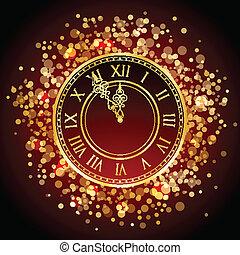 χρυσός , ρολόι , μικροβιοφορέας , έτος , καινούργιος , κόκκινο