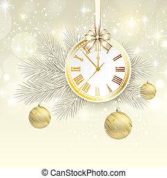 χρυσός , ρολόι , μικροβιοφορέας , φόντο , έτος , καινούργιος
