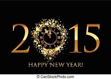 χρυσός , ρολόι , μικροβιοφορέας , φόντο , έτος , 2015, καινούργιος , λαμπερός , ευτυχισμένος