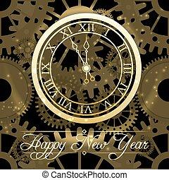 χρυσός , ρολόι , φόντο , έτος , καινούργιος , ευτυχισμένος