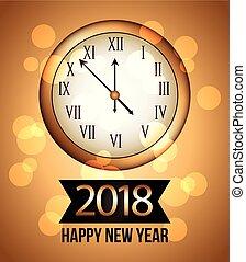 χρυσός , ρολόι , 2018, φόντο , έτος , καινούργιος , λάμποντας