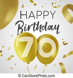 χρυσός , balloon, 70 , γενέθλια , έτος , εβδομήντα , κάρτα...