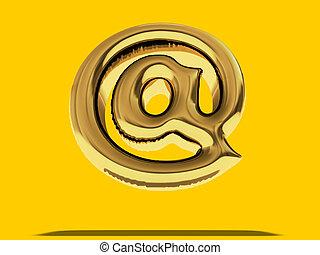 """χρυσός , balloon, """"at"""", σύμβολο. , 3d"""