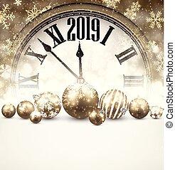 χρυσός , clock., 2019, φόντο , έτος , καινούργιος
