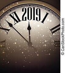 χρυσός , clock., 2019, φόντο , έτος , καινούργιος , λαμπερός
