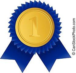 χρυσό μετάλλιο , για , πρώτα , place., τρόπαιο , νικητήs , award., χρυσαφένιος , badge., κατόρθωμα , νίκη , concept., μικροβιοφορέας , στοκ , illustration.