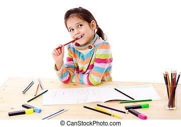 χρώματα ζωγραφικής , τραβώ , μικρός , εμπνευσμένος , κορίτσι...