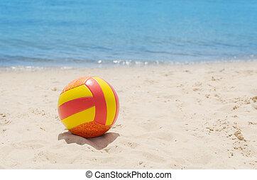 χρώμα , άμμοs , μπάλα , θάλασσα