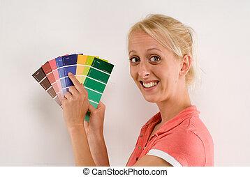 χρώμα , γυναίκα , κράτημα , γραφική παράσταση