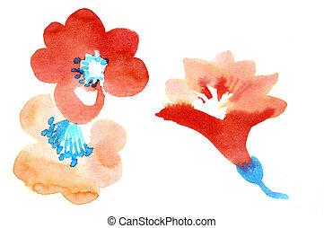 χρώμα , νερομπογιά , λουλούδια , εικόνα , πίνακες ζωγραφικής