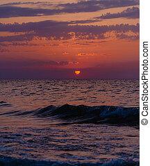 χρώμα , πάνω , ηλιοβασίλεμα , sea., κόκκινο