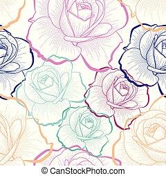 χρώμα , περίγραμμα , τριαντάφυλλο , αναμμένος αγαθός , φόντο , μικροβιοφορέας , seamless, πρότυπο