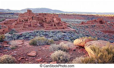 χωριό ερυθρόδερμων , εθνικός , arizona , wupatki, μνημείο