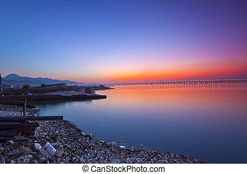χόνγκ-κόνγκ , κίνα , ακτογραμμή , ηλιοβασίλεμα , κατά μήκος