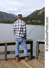 ψάρεμα , σε , ο , λίμνη