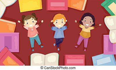 ψέμα , μικρόκοσμος , stickman, εικόνα , κάτω , βιβλίο