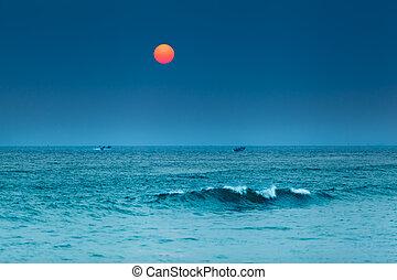 ψαράδες , βάρκα , ηλιοβασίλεμα