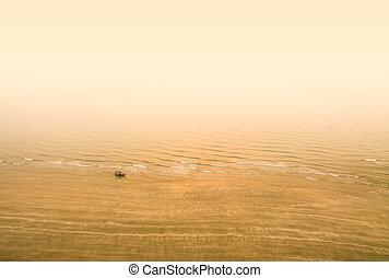 ψαράs , παραλία , βάρκα