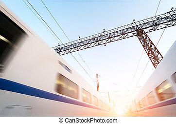 ψηλά , μοντέρνος , δυο , κίνηση , τρένο , αμαυρώ , ταχύτητα