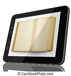 ψηφιακός , βιβλιοθήκη , γενική ιδέα , - , ανοιχτό βιβλίο , επάνω , δισκίο , οθόνη υπολογιστή