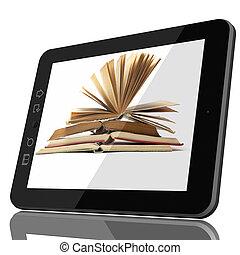 ψηφιακός , βιβλιοθήκη , γενική ιδέα , - , δισκίο , ηλεκτρονικός υπολογιστής , και , ανοιχτό βιβλίο , επάνω , οθόνη