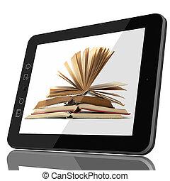 ψηφιακός , βιβλιοθήκη , γενική ιδέα , - , δισκίο , και , ανοιχτό βιβλίο , επάνω , οθόνη