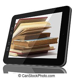 ψηφιακός , βιβλιοθήκη , γενική ιδέα , - , οθόνη υπολογιστή , και , ανοιχτό βιβλίο , επάνω , οθόνη