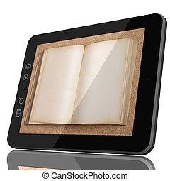 ψηφιακός , βιβλιοθήκη , γενική ιδέα , - , cgi , δισκίο , ηλεκτρονικός υπολογιστής , και , ανοιχτό βιβλίο , επάνω , οθόνη