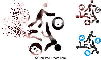 ψιλοκομμένος , bitcoin, halftone, άνθρωπος , τρέξιμο , εικονοκύτταρο , εικόνα