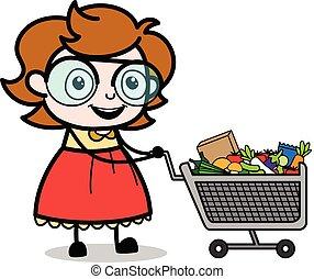 ψώνια , - , κάρο , μικροβιοφορέας , εικόνα , κορίτσι , έξυπνος , γελοιογραφία , έφηβος