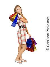 ψώνια , κορίτσι , bags., κράτημα
