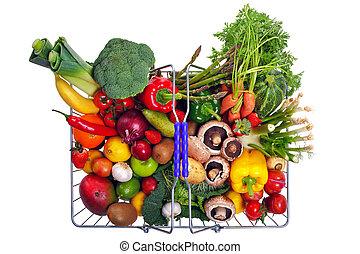 ψώνια , λαχανικά , απομονωμένος , ανταμοιβή καλάθι , άσπρο