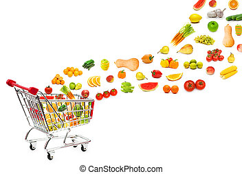 ψώνια , τροφή , ιπτάμενος , κάρο , προϊόντα , έξω