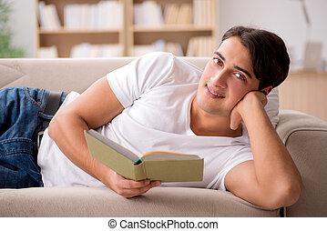 ωραία , άντραs , κειμένος , αναμμένος άρθρο καναπές